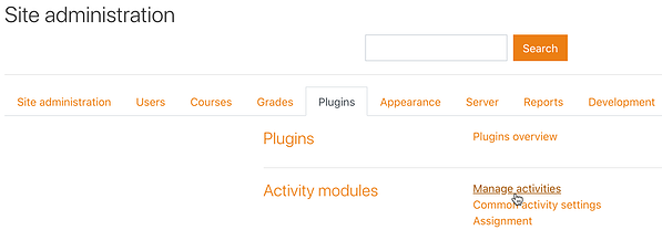Site administration Plugins tab Manage activities link