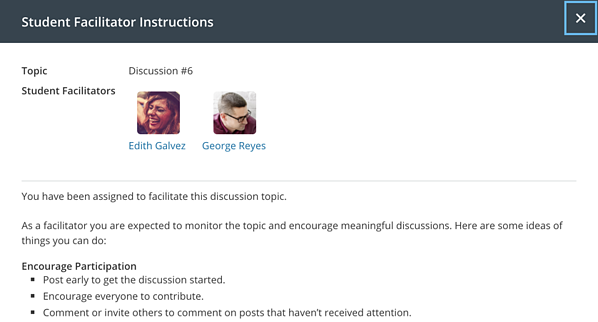 Harmonize Discussion Student Facilitator Instructions Modal