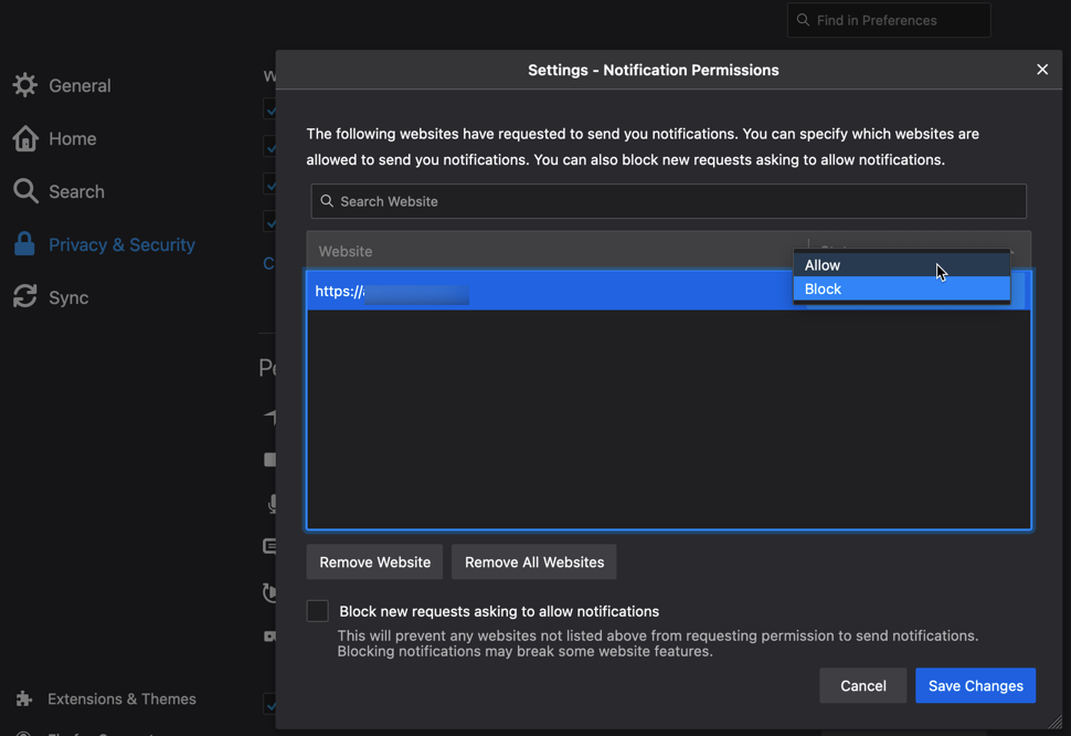 Mozilla Firefox Preferences Privacy & Security Notifications Settings