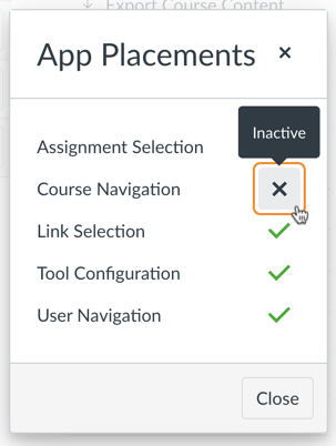 App Placements Dialog Course Navigation Inactive
