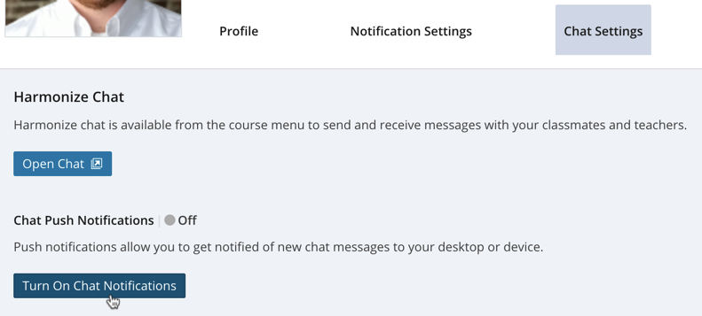 User Profile Chat Settings Tab Turn On Chat Notifications Button